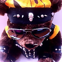 "Biker Bear -A unique Leather - Clad Studded n Spiked ""Toxified"" Teddy Bear"