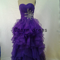purple sweetheart long prom dresses   organza beaded prom dress with rhinestones     cheap party gowns
