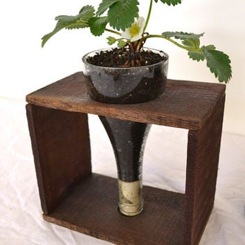 Wine Bottle Barrel Planter and Vase - V1 - 100% recycled