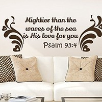 Wall Decals Quotes Vinyl Sticker Decal Quote Psalm 93:4 Mightier than the waves of the sea is His love for you Home Decor Bedroom Art Design Interior NS675