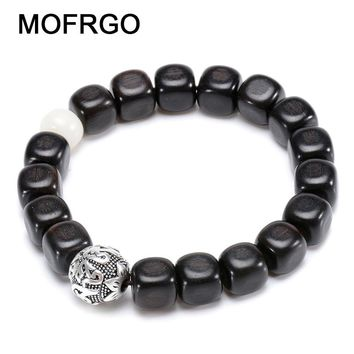 MOFRGO EBONY Wood Rounded Corners And OM Bead Silver Plated Vintage Bracelets For Women Buddha Meditation Bracelet Men Jewelry