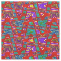 Bright Red Purple Turquoise Mod Abstract Fabric