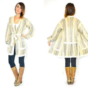 vintage 1970s bohemian STIPED hippie ethnic CARDIGAN WRAP sweater, small-large