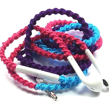 Caribbean Sea - Tangle Free Earbuds - Wrapped Headphones - Your Choice of Headphones