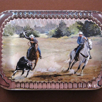 """Western Decor """"Bob's Roping Days"""" Cowboy Painting Heirloom Rectangle Glass Paperweight Horse Lover"""