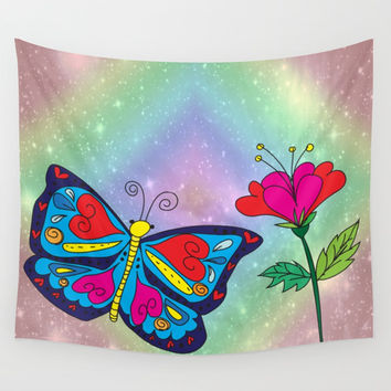 Love like a butterfly Wall Tapestry by Shashira Handmaker