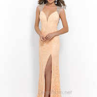 Low Cut Blush Prom Gown 9940