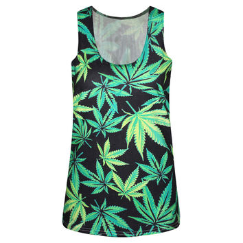 Sexy Summer Beach Comfortable Hot Bralette Stylish Sleeveless Leaf Print Tops Vest [6049170625]