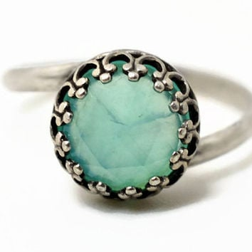 8mm Opal Ring, Blue Opal Engagement Ring, Peruvian Opal Cocktail Ring, Blue and Silver Ring