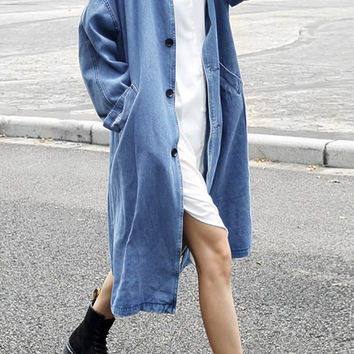 Oversized Denim Duster Jacket | Light Blue