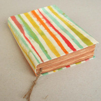 colorful stripes- Handmade batik journal, notebook, diary, travel journal, antique paper, 224 pages
