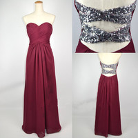Cheap New Style 2013 Strapless Sweetheart with Beading Chiffon Prom Dresses