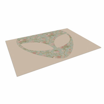 "Alias ""Floral Alien"" Pink Teal Indoor / Outdoor Floor Mat"