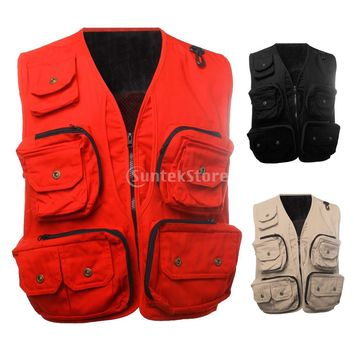 Men's Military Style Outdoor Hunting Camping Multi Pocket Vest Sleeveless Jacket Photography Journalist Vest L, XL, 2XL, 3XL