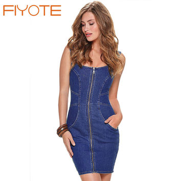 FIYOTE New Summer 2016 Denim Dress Robe Sexy Front Zipper  Sleeveless Pocket Jeans Mini Dress LC22656 Fashion Casual Women Dress