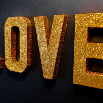 Gold Glitter letters - LOVE - Self-Standing & Decorative, Paper Mache Glitter Letters