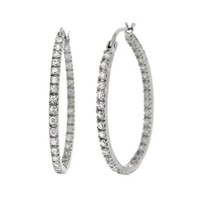 Sterling Silver Cubic Zirconia Large Oval Hoop Earrings (0.6 cttw)