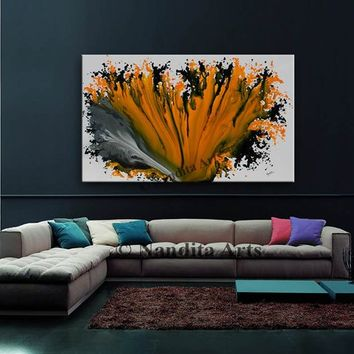 "Large Acrylic Painting, 60"" Pumpkin Orange Wall Art Decor, Huge Abstract Painting, Contemporary Art on Canvas painting, By Nandita"