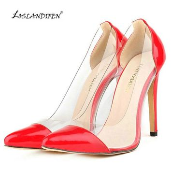 LOSLANDIFEN New summer fashion sexy women pumps pointed toe high heeles shoes Transparent party wedding dress shoes woman 34-42