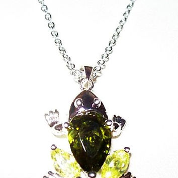 "Crystal Frog Pendant Chain Necklace Peridot & Lime Green Silver Metal 20"" Vintage"