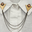 triangle collar pins with pink opals, collar chain, collar brooch, lapel pin, triangle pin, triangle brooch