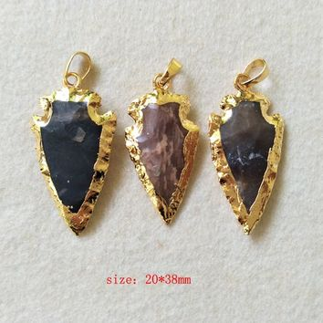 5 pcs Natural stone Carved Arrowhead Druzy Pendant,Gold color Rough Bead Gems Necklace Jewelry Making P229