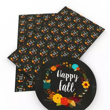 Happy Fall floral wreath Halloween faux leather fabric sheet