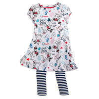Mickey and Minnie Mouse Sweethearts Dress and Leggings Set - Girls