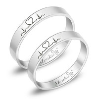 2 PCS-Free Engraving Electrocardiogram promise rings.couple rings,wedding bands,lovers rings,engagement rings, promise ring