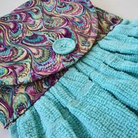 Hanging Dish Towel, Turquoise Quilted Hanging Kitchen Towel, Gifts Under 20, Custom Kitchen Towel, Aqua and Purple Swirl, Turquoise Towel