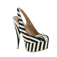 River Island | River Island Empire Striped Slingback Shoes at ASOS