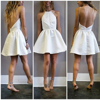 Adorable Ivory Halter Dress