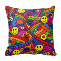Smiley Face Rainbow and Flower Hippy Pattern Pillow