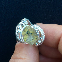 ANY SIZE Star Rutilated Quartz Ring Wrapped in Sterling Silver Wire