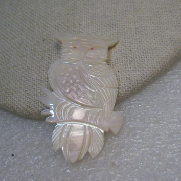 "Vintage Mother-of-Pearl Carved Owl Brooch, 2"", 1960's-1970's"