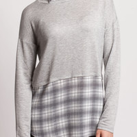 Heather Gray Cropped top with Plaid Hem