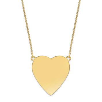 14k Plain .018 Gauge Heart Engravable Disc 18 Necklace XM629/18