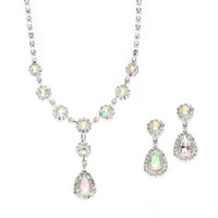 Iridescent Rhinestone Prom or Bridesmaid Necklace &  Earrings Set