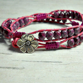 Wrap Bracelet Plum Bead Bracelet, Leather Wrap Bracelet, Wrap Around