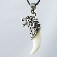 Men's Stainless Steel Titanium Real Wolf Tooth Pendant Necklace