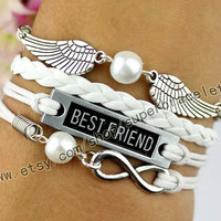 Wing, pearl milk tea color, best friend bracelet, infinity bracelet, ancient silver charm, white leather cord, girlfriend and BFF