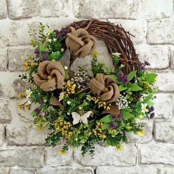 Burlap Spring Wreath, Easter Wreath, Spring Decor, Spring Door Wreath, Front Door Wreath, Silk Floral Wreath, Outdoor, Grapevine,Summer,Etsy