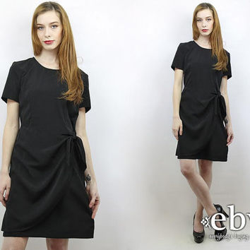Vintage 90s Black Wrap Dress M Black Dress Minimalist Dress Simple Dress