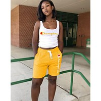 Champion Summer Fashionable Woman Print Sleeveless Top Shorts Set Two Piece Yellow