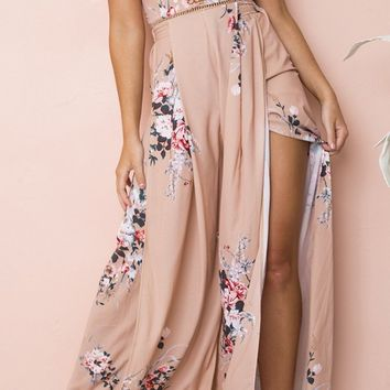 Blooming Love Pink Floral Pattern Sleeveless Halter Cut Out Back Wide Leg Loose Slit Jumpsuit