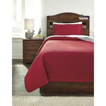 Q225011T Dansby Twin Coverlet Set - Red/Gray - Free Shipping!