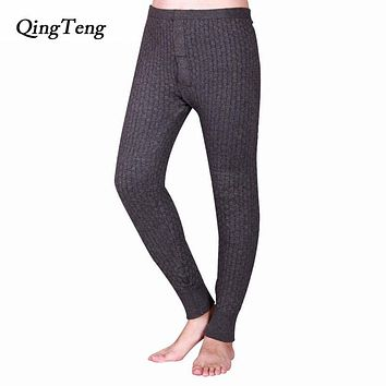 QingTeng Winter Male Thermal Underwear Sexy Cashmere Knitted More Thick Stereo-pairs Plaid Merino Wool Long Johns Warm Pants