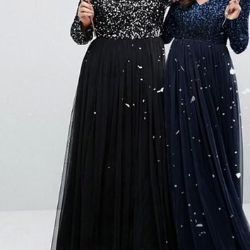 Plus Size Sequin maxi Dress winter long sexy evening party Elegant blue black formal prom cocktail