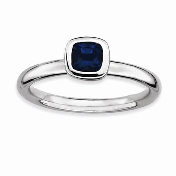 Sterling Silver Stackable Expressions Cushion Cut Simulated Sapphire Ring