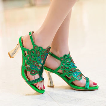 Rhinestone Hoof Heels Buckle Slingbacks Women Slides Sandals  8975